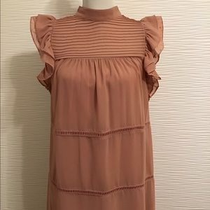 NWOT Coral Pink Lining Dress Ruffle Short Sleeve
